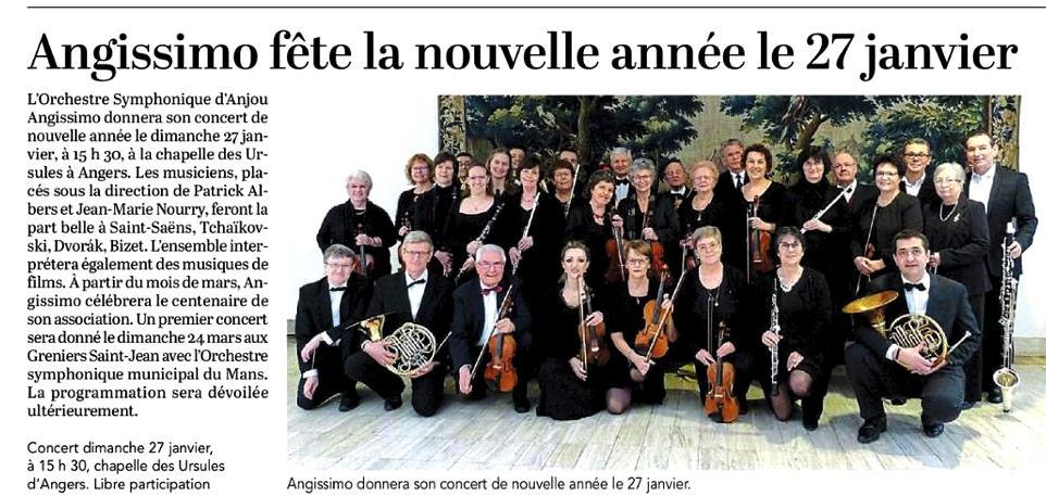Courrier de l'ouest 17 janvier 2019 Article concert Angissimo