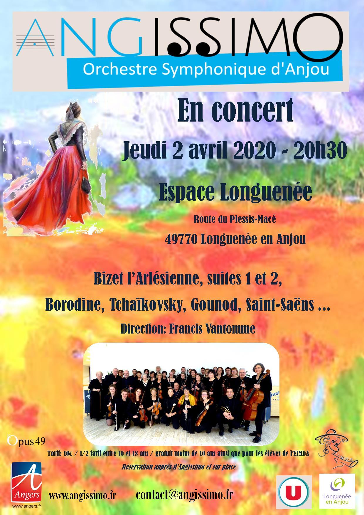 Affiche 2 avril 2020 Longuenée en Anjou avec logos